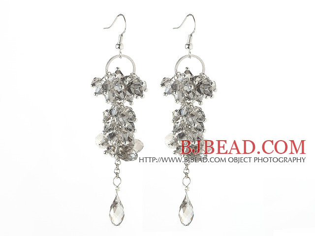 Light Gray Series Assorted Gray Crystal Dangle Long Earrings