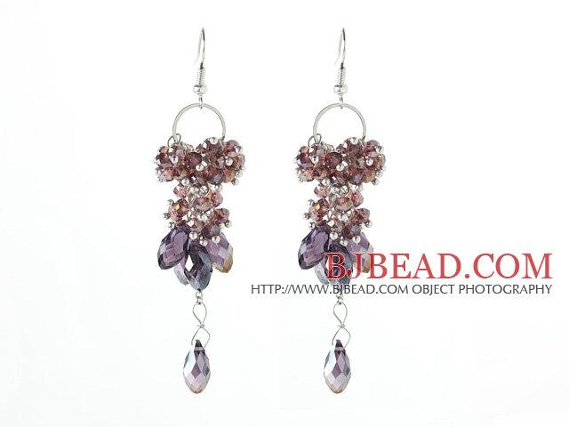 Light Purple Series Assorted Purple Crystal Dangle Long Earrings