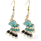Fashion Style Imitation Gold Peacock Earrings with Crystal
