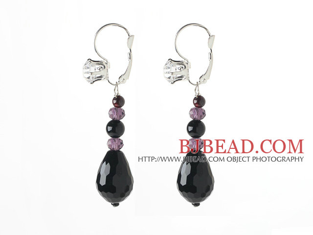New Design Black Series Drop Black Agate and Garnet Earrings with Rhinestone Level Back Earrings