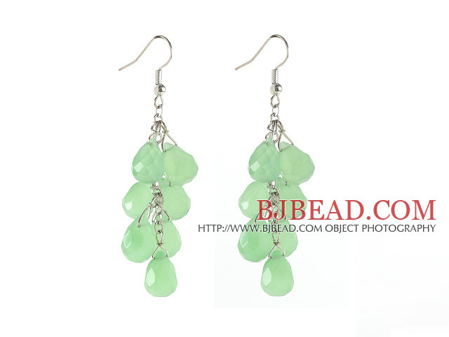 Drop Shape Apple Green Jade Crystal Dangle Earrings