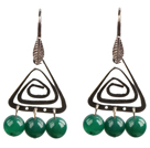 Popular Fashion Natural Green Agate Earrings With Triangular Accessory