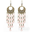 Vintage Style Round Shape Accessory and Round Pink Shell Beads Long Earrings