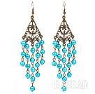 Vintage Style Triangle Shape Accessory and Round Lake Blue Shell Beads Long Earrings