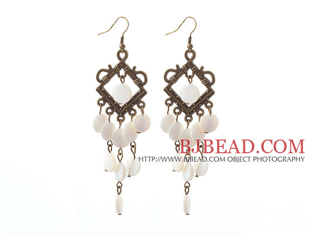 Vintage Style Rhombus Shape Accessory and Flat Round White Shell Long Earrings