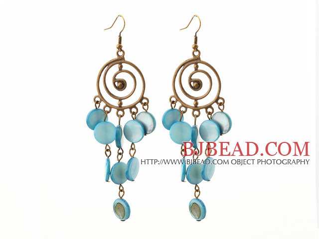 Vintage Style Round Shape Accessory and Flat Round Blue Shell Long Earrings