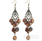 Vintage Style Rhombus Shape Accessory and Flat Round Brown Shell Long Earrings