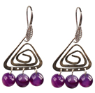 Popular Fashion Natural Purple Agate Earrings With Triangular Accessory