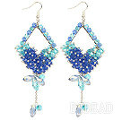 Cool Blue Series Assorted Blue Crystal Dangle Earrings under $ 40
