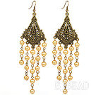 Vintage Style Golden Color Seashell Beads Long Earrings