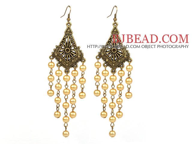 Vintage Style Golden Color Seashell Beads Long Earrings