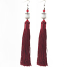 China Style Dark Red Series Red Coral and White Porcelain Stone and Dark Red Thread Long Tassel Earrings