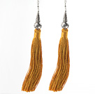 China Style Yellow Brown Series Tibet Silver Accessory and Yellow Brown Thread Long Tassel Earrings