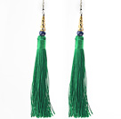 China Style Dark Green Series Lapis and Green Thread Long Tassel Earrings