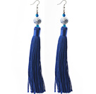 China Style Dark Blue Series Blue Agate and Blue White Porcelain and Thread Long Tassel Earrings