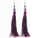 China Style Dark Purple Series Amethist en Dark Purple Thread Long Tassel oorbellen