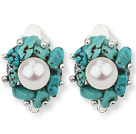 2013 Summer New Design White Freshwater Pearl and Turquoise Chips Clip Earrings