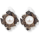 2013 Summer New Design White Freshwater Pearl and Smoky Quartz Chips Clip Earrings