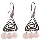 Popular Fashion Natural Rose Quartz Earrings With Triangular Accessory