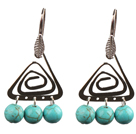 Popular Fashion Natural Turquoise Earrings With Triangular Accessory