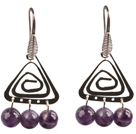 Popular Fashion Natural Faceted Amethyst Earrings With Triangular Accessory
