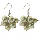 2013 Summer New Design 8-9mm Olive Green Pearl Cluster Earrings