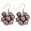 2013 Summer New Design 8-9mm Black Pearl Cluster Earrings