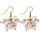 2013 Summer New Design 8-9mm A Grade White Pearl Cluster Earrings under $ 40