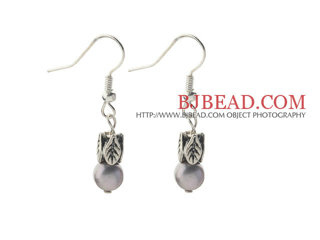 Dangle Style 5-6mm Gray Freshwater Pearl Earrings with Tibet Silver Accessories