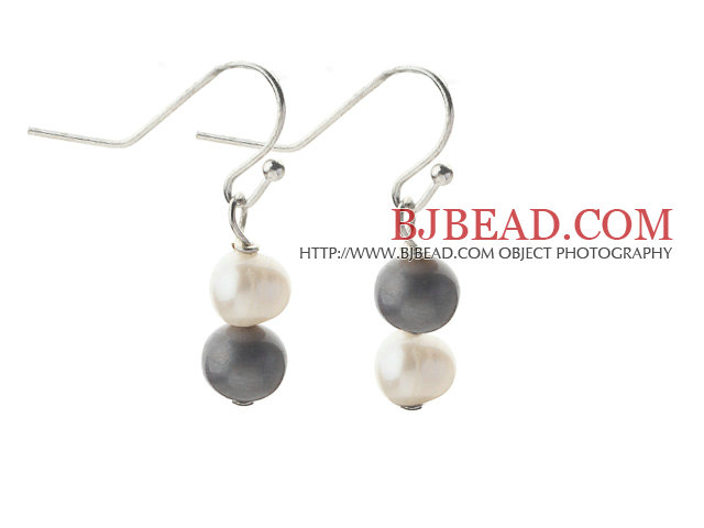 Simple Style 5-6mm Gray and White Freshwater Pearl Earrings