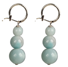 Beautiful Long Style Graduated Amazon Stone Beads Dangle Earrings