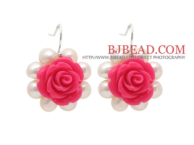 Fashion Style White Freshwater Pearl and Hot Pink Acylic Flower Earrings