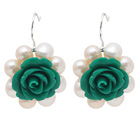 Fashion Style White Freshwater Pearl and Green Acylic Flower Earrings