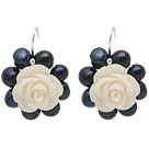 Fashion Style Black Freshwater Pearl and White Acylic Flower Earrings