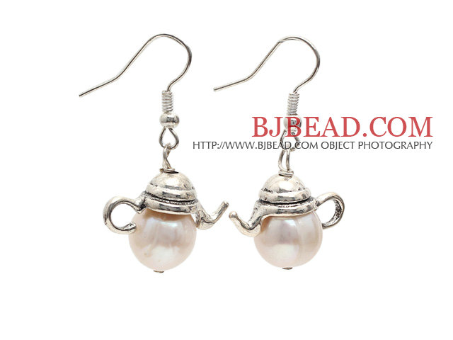 Classic Design 10-11mm Natural White Freshwater Pearl Charm Earrings with Fish Hook