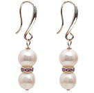 Dangle Style 9-10mm Natural White Freshwater Pearl Earrings with Rhinestone Spacer