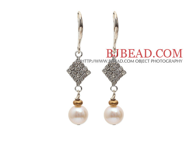Fashion Style 8-9mm Natural White Freshwater Pearl Dangle Earrings with Rhinestone Accessories