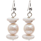 Natural White Freshwater Pearl and Rebirth Pearl Dangle Earrings