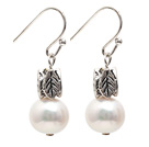Simple Style 9-10mm Natural White Freshwater Pearl Earrings with Fish Hook under $ 40
