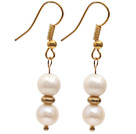 Fashion Style 7-8mm Natural White Freshwater Pearl Beaded Earrings with Yellow Color Fish Hook