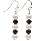 Simple Style Natural White Freshwater Pearl and Black Crystal Dangle Earrings under $ 40