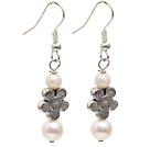 Dangle Style Natural White Freshwater Pearl Long Earrings with Tibet Silver Flower Accessories under $ 40