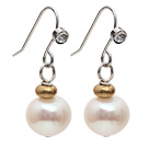 Simple Style 9-10mm Natural White Round Freshwater Pearl Earrings with Fish Hook under $ 40