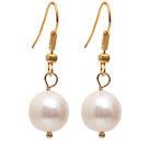 Simple Style Natural White 10-11mm Freshwater Pearl Earrings with Yellow Color Fish Hook under $ 40