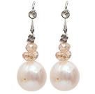 Fashion Style Natural White Freshwater Pearl Earrings with Fish Hook under $ 40