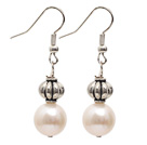 Simple Style Natural White 10-11mm Freshwater Pearl Earrings with Tibet Silver Accessories under $ 40