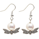 Simple Style A Grade Round Freshwater Pearl Earrings with Tibet Silver Wing Accessories under $ 40