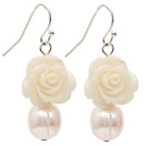 Natural White Freshwater Pearl and White Acrylic Flower Earrings with Fish Hook under $ 40