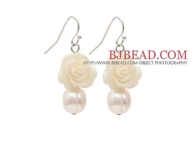 Natural White Freshwater Pearl and White Acrylic Flower Earrings with Fish Hook
