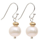 Natural Round 9-10mm White Freshwater Pearl Earrings with Golden Color Metal Beads under $ 40